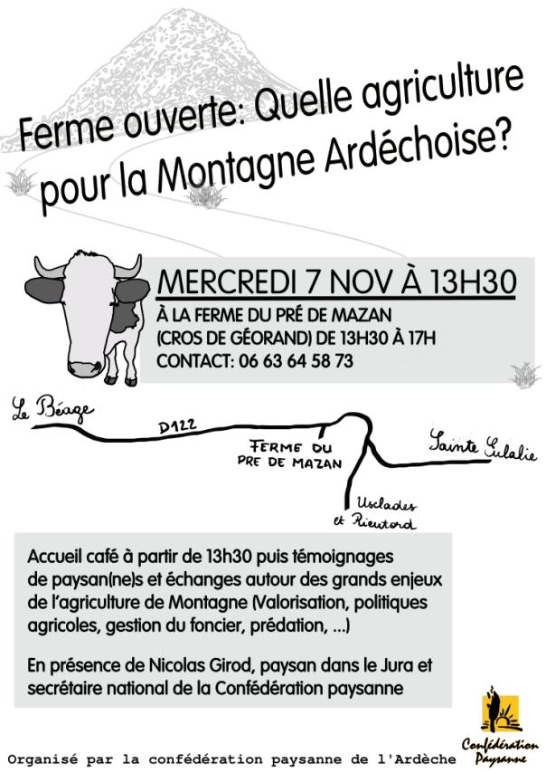 affiche Ferme ouverte 7 Nov Cros de Géorand